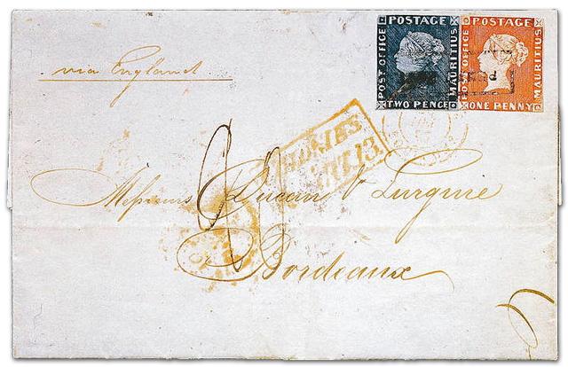 Bordeaux-Brief mit roter und blauer Mauritius
